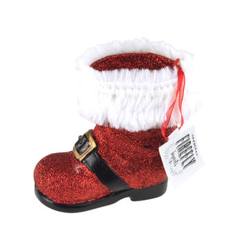 Glittered Santa Boot Christmas Tree Ornament, 3-1/2-Inch, Red