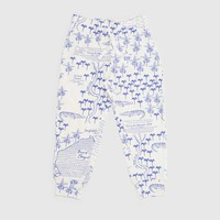 MINI RODINI CROCO MAP PRINT TROUSERS WHITE
