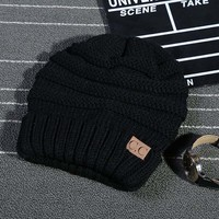 New South Korean Version Winter Hat for Women And Men Skullies Brand Autumn Knitted Cap Leather label CC Earmuffs Warm Hats 8507