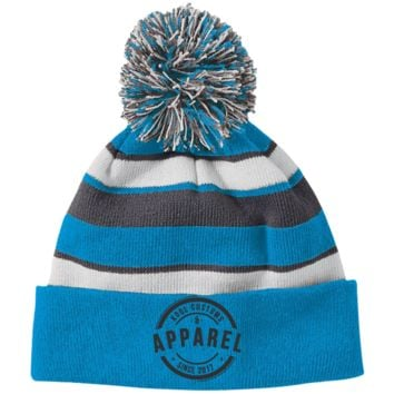 Kool Customs & Apparel Embroidier Holloway Striped Beanie with Pom