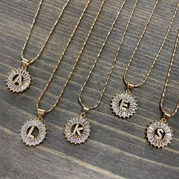 Women's Round Crystal Initial Necklace