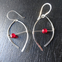 Hammered Sterling Silver Wire Earrings with by SugarandSoySauce