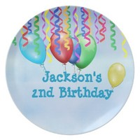 Colorful Streamers and Balloons Birthday Plate