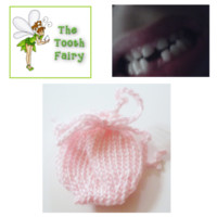Pink Tooth Fairy Bag, Baby Girl, Hand Knit, Baby Shower Gift, New Mom, Tooth Fairy