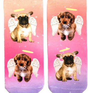 Angel Puppies Ankle Socks