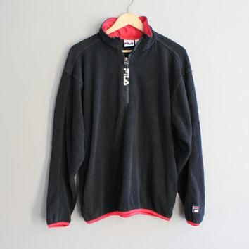 FILA Sweatshirt Zip up Black Sweatshirt Jumper Grunge Jacket Hipster Minimalist Unisex