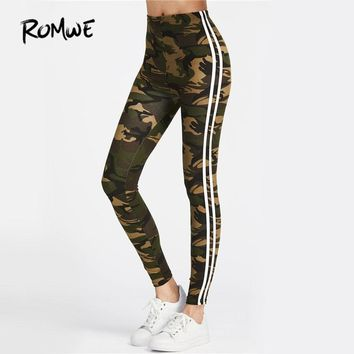 ROMWE Camo Fitness Leggings 2017 Women Striped Side Workout Legging Top Quality Fashion New Casual Skinny High Waist Leggings