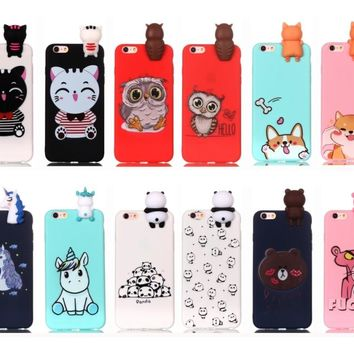 For iPhone 8 7 6 Plus 5C S SE Silicone TPU Case Cartoon Animal Leopard Doll Panda Dog Owl Cat Bear for iPhone X phone shell