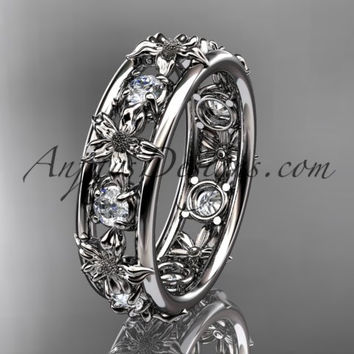 14kt white gold leaf wedding ring, engagement ring, wedding band. ADLR160 nature inspired jewelry