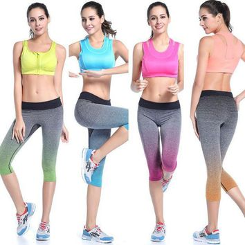 CREYYN6 Brand Women Yoga Capris Sports Leggings Fitness Running Gym Legging High Elastic Slim Pants Stretch Workout Pants