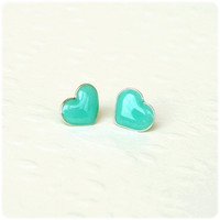Tiny mint heart posts studs earrings - Heart jewelry