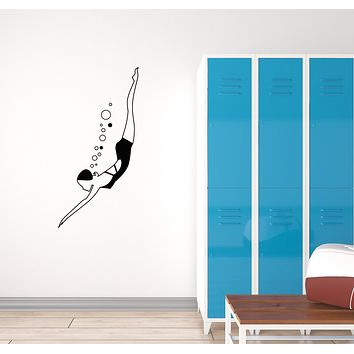 Vinyl Decal Wall Sticker Diver Swimmer Girl Decor for Pool Mural Unique Gift (g085)