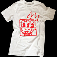 Keith Haring 3 eyes - Basquiat Crown - Mashup Unisex T-shirt by American Anarchy Brand (white)