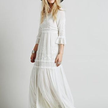 2017 Women Bohemian Vintage Ethnic Flower Embroidered Cotton Tunic Long White Maxi Dress Hippie Boho People Asymmetric \FJ180