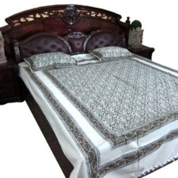 Bohemian Bedspread Indian Bedding Paisley Cotton Tapestry Throw Queen 3p Set