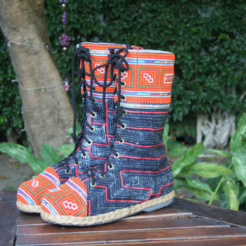 Britta Womens Combat Boot in Hmong Embroidery And Indigo Batik