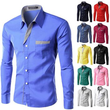 Slim Fit Long Sleeve Business Casual Shirt