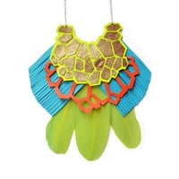 Neon Yellow Geometric Bib Necklace with Green Feather, Statement Jewelry | Boo and Boo Factory - Handmade Leather Jewelry
