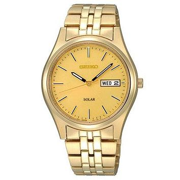 Seiko Solar Mens Watch - Gold-Tone Dial - Gold-Tone Case- 10 Month Power Reserve