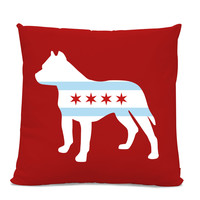 Chicago Flag Pitbull Pillow - Chicago Home Decor - Pitbull pillow - dog breed silhouette pillow - dog home decor - Pitbull home decor