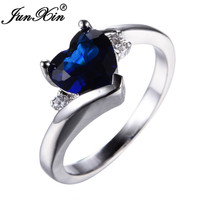 JUNXIN Blue Jewelry Heart Style Zircon Ring White Gold Filled Wedding Party Engagement Band Rings For Women Bohemian