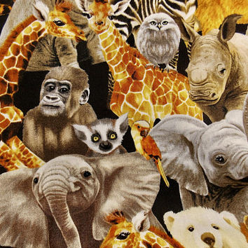 African Animal Fabric Elephant Fabric Lions Tigers Home Decor Fabric Pillow Fabric Safari Fabric Quilting Fabric Giraffes Sloth Fabric Zebra