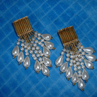 Pearl  dangle earrings for pierced ears