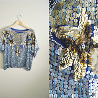 Silver & Gold - Vintage Sequin Party Beaded Slouchy Top NYE Womens