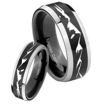 His Her Beveled Mountain Satin Black 2 Tone Tungsten Wedding Rings Set