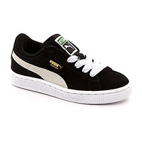 Puma Boys' Suede Jr Casual Sneakers - Black/White