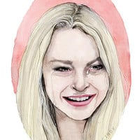 Lindsay Lohan crying watercolor portrait illustration PRINT