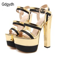 Womens Summer Sexy Sandal High Heels Mixed Colors Gold Party Shoes