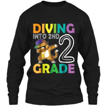 Cat Dabbing Diving Into 2ND Grade  First Day Of School LS Ultra Cotton Tshirt