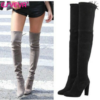 ESVEVA 2016 Warm Women Winter Shoe Sexy Fashion Autumn Boots Over The Knee Boots Lace Up Square High Heel Women Boots Size 34-43