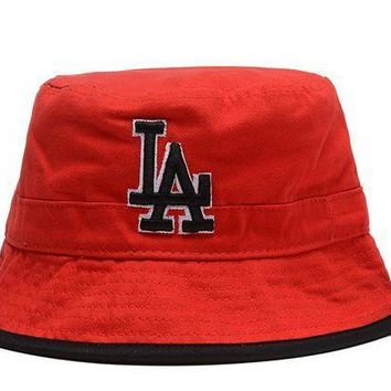 MDIGBE6 Los Angeles Dodgers Full Leather Bucket Hats Red