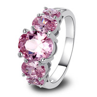 y Exquisite 925 Silver Ring Inlay Pink Topaz Gift For Women Size 6 7 8 9 10