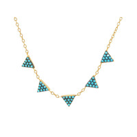 "Fronay Collection Minimalist Turquoise CZ Triangles Necklace: Silver Sterling Gold Plated, 15.5"" + 1.5"" Extension"