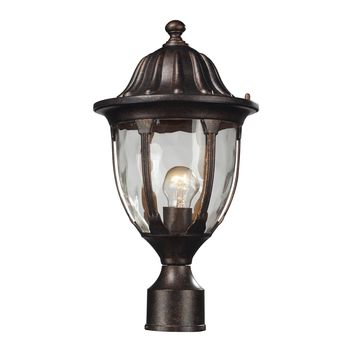 45005/1 Glendale 1 Light Outdoor Post Mount In Regal Bronze And Water Glass