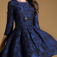 Blue Floral Jacquard Skater Dress