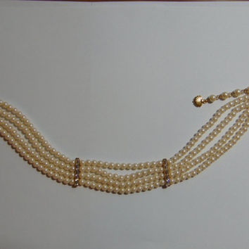 VINTAGE 4 Strand Faux Pearl Choker Necklace Possible Richelieu