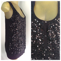 ELLE Black Cardigan Sequined Sleeveless Sweater Vest Sparkling Sequins Long Drop Waist Vintage 80s Fit Oversize Small S