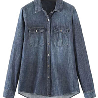 Deep Blue Long Sleeve Denim Shirt
