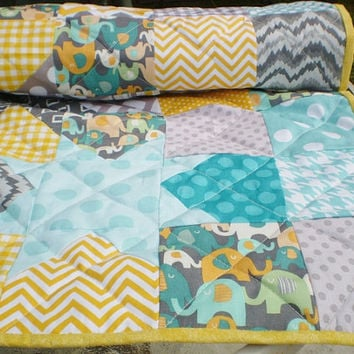 Modern Baby quilt,Teal,grey,yellow,Patchwork crib blanket,woodland,rustic,baby boy bedding,baby girl quilt,elephant,Catch a Falling Star