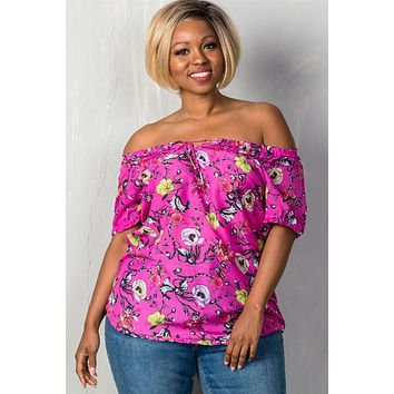 Ladies fashion plus size boho fuchsia floral print elastic neckline off the shoulder top