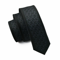 Mens Ties Silk Skinny Ties For Men Narrow Gravata Slim Tie Novelty Black Necktie