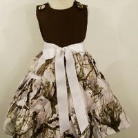 Girls  Jumper Dress-Camo-Snow with Brown---#327