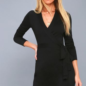 Literary Lover Black Wrap Sweater Dress