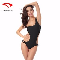 SWIMMART2018 new unique six-ring display S curve  one-shoulder one-piece swimsuit high-end chest large size swimsuit