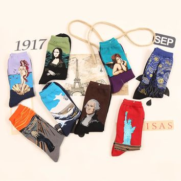 Harajuku Printing Socks Oil Painting Art Socks 2017 Fashion Starry Night Van Gogh Mural For Women Mens Unisex Low Ankle Socks