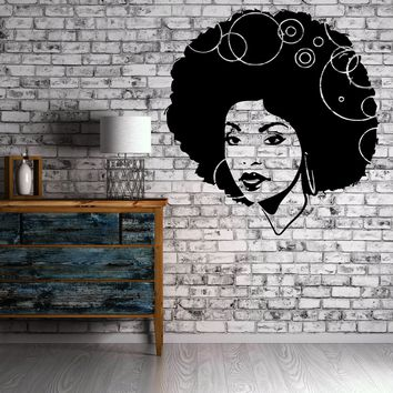 Wall Stickers Vinyl Decal Sexy Hot Young African Woman Sexy Afro Hair EM449